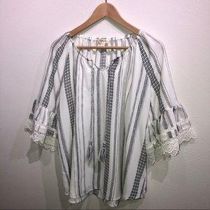 Style & Co Geometric Stripe Bell Sleeve Top